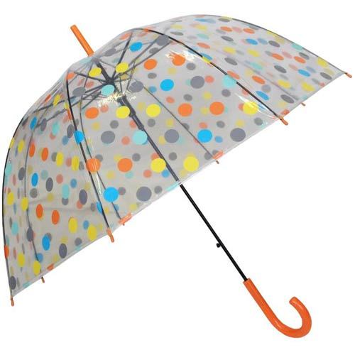 Regenschirm transparent mit Punkten in orange blau